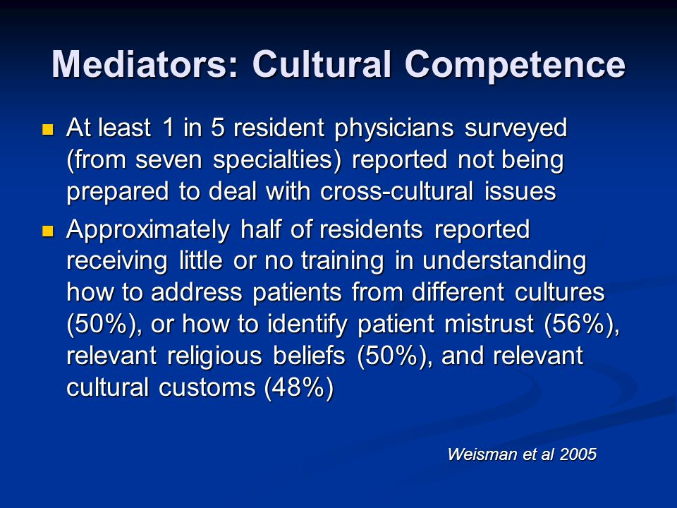 Mediators: Cultural Competence At least 1 in 5 resident physicians surveyed (from seven specialties) reported not being prepared to deal with cross-cu