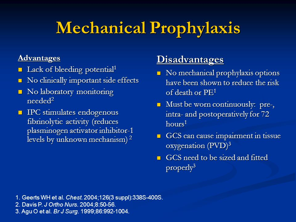 Mechanical Prophylaxis Advantages Lack of bleeding potential 1 Lack of bleeding potential 1 No clinically important side effects No clinically importa