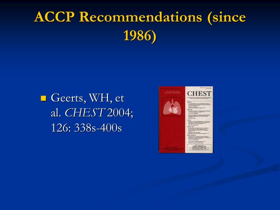 ACCP Recommendations (since 1986) Geerts, WH, et al.