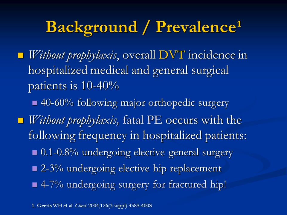 Background / Prevalence¹ Without prophylaxis, overall DVT incidence in hospitalized medical and general surgical patients is 10-40% Without prophylaxi
