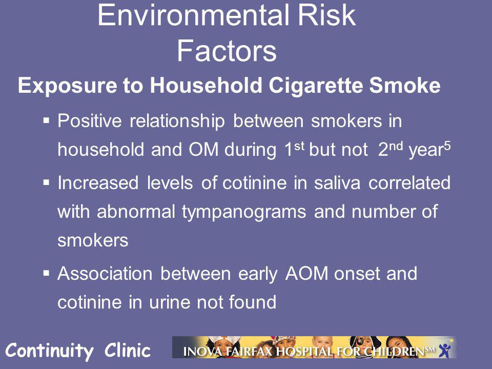 Continuity Clinic Exposure to Household Cigarette Smoke  Positive relationship between smokers in household and OM during 1 st but not 2 nd year 5 