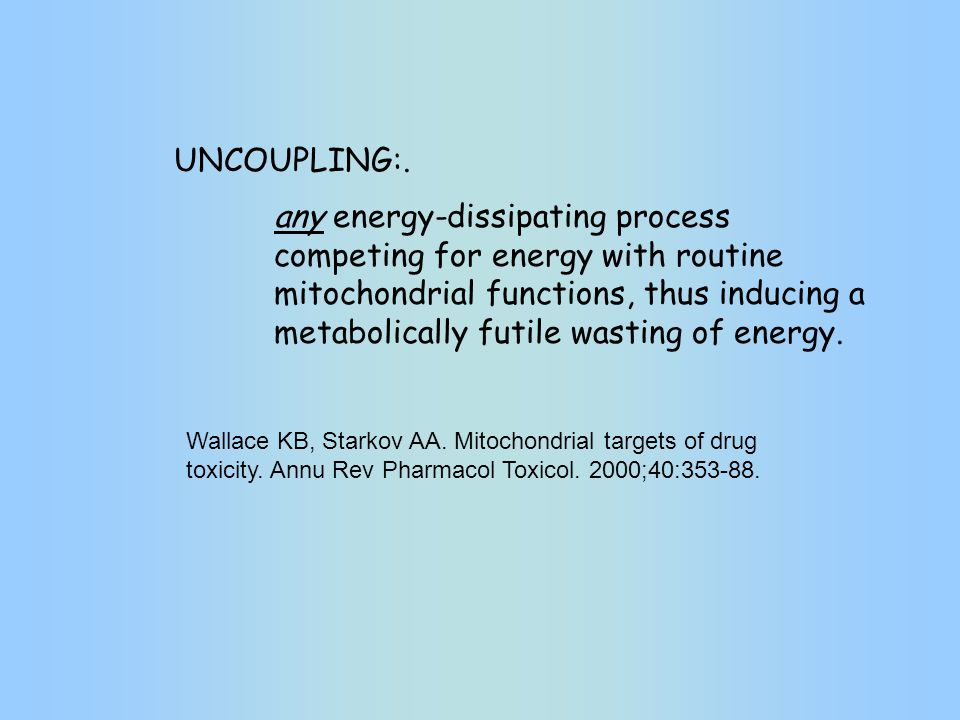 any energy-dissipating process competing for energy with routine mitochondrial functions, thus inducing a metabolically futile wasting of energy. Wall
