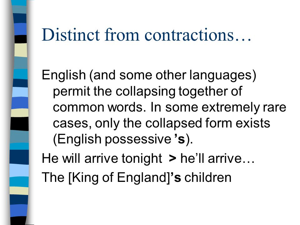 Distinct from contractions… English (and some other languages) permit the collapsing together of common words.