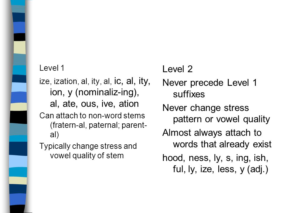 Level 1 ize, ization, al, ity, al, ic, al, ity, ion, y (nominaliz-ing), al, ate, ous, ive, ation Can attach to non-word stems (fratern-al, paternal; parent- al) Typically change stress and vowel quality of stem Level 2 Never precede Level 1 suffixes Never change stress pattern or vowel quality Almost always attach to words that already exist hood, ness, ly, s, ing, ish, ful, ly, ize, less, y (adj.)