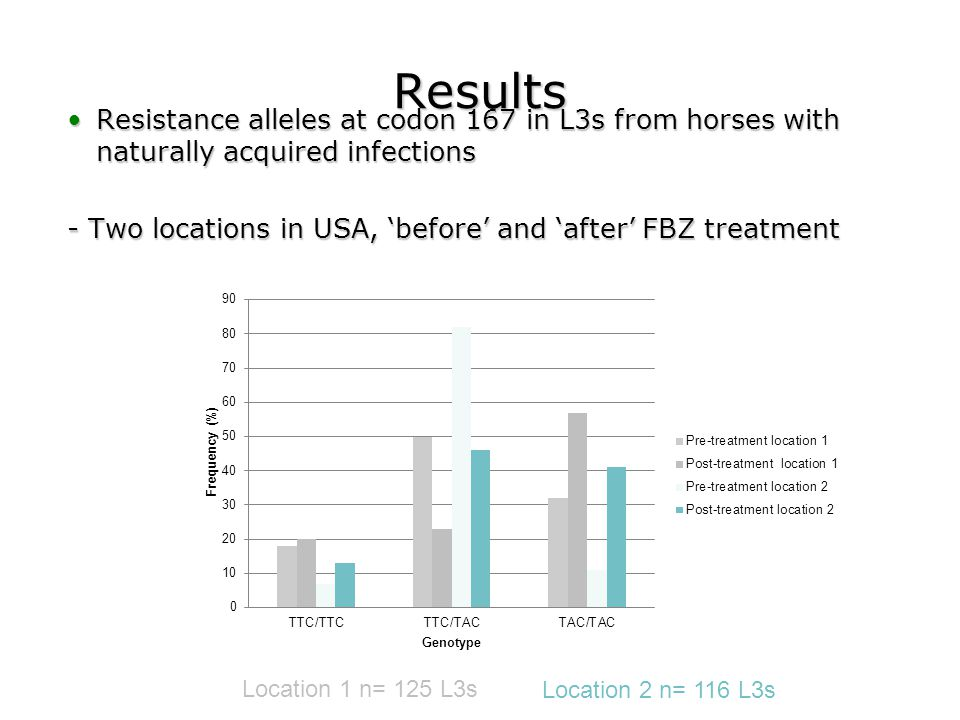 Results Resistance alleles at codon 167 in L3s from horses with naturally acquired infectionsResistance alleles at codon 167 in L3s from horses with n