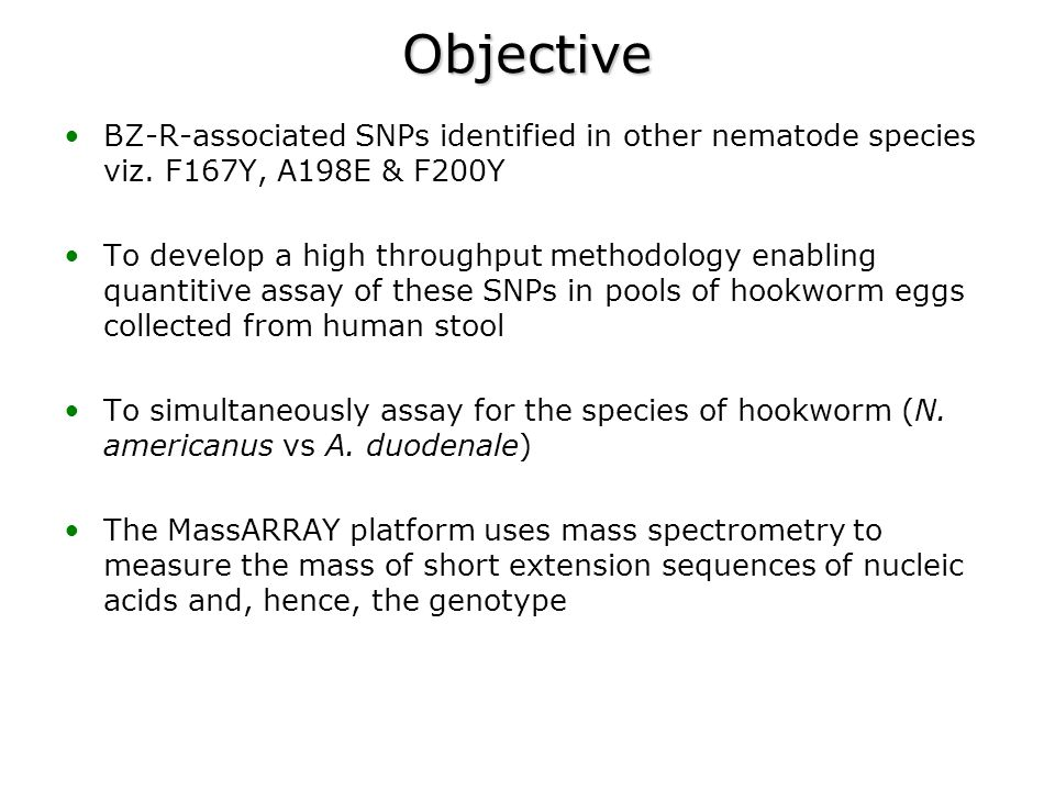 Objective BZ-R-associated SNPs identified in other nematode species viz. F167Y, A198E & F200Y To develop a high throughput methodology enabling quanti