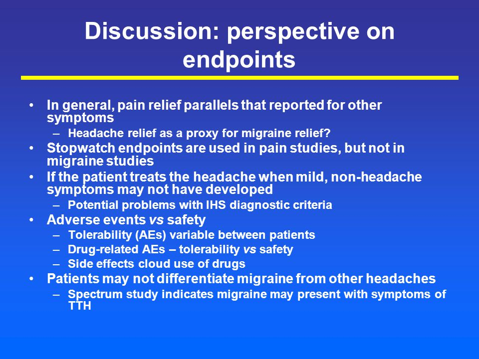 Discussion: perspective on endpoints In general, pain relief parallels that reported for other symptoms –Headache relief as a proxy for migraine relief.