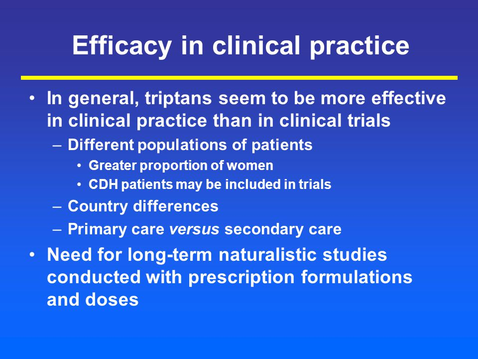 Efficacy in clinical practice In general, triptans seem to be more effective in clinical practice than in clinical trials –Different populations of patients Greater proportion of women CDH patients may be included in trials –Country differences –Primary care versus secondary care Need for long-term naturalistic studies conducted with prescription formulations and doses