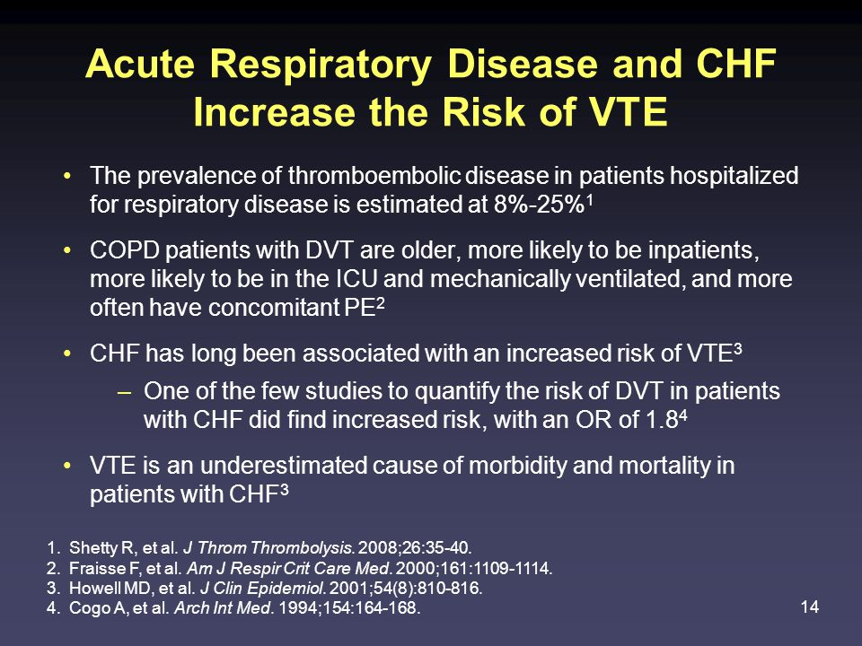 14 Acute Respiratory Disease and CHF Increase the Risk of VTE The prevalence of thromboembolic disease in patients hospitalized for respiratory disease is estimated at 8%-25% 1 COPD patients with DVT are older, more likely to be inpatients, more likely to be in the ICU and mechanically ventilated, and more often have concomitant PE 2 CHF has long been associated with an increased risk of VTE 3 –One of the few studies to quantify the risk of DVT in patients with CHF did find increased risk, with an OR of 1.8 4 VTE is an underestimated cause of morbidity and mortality in patients with CHF 3 1.Shetty R, et al.