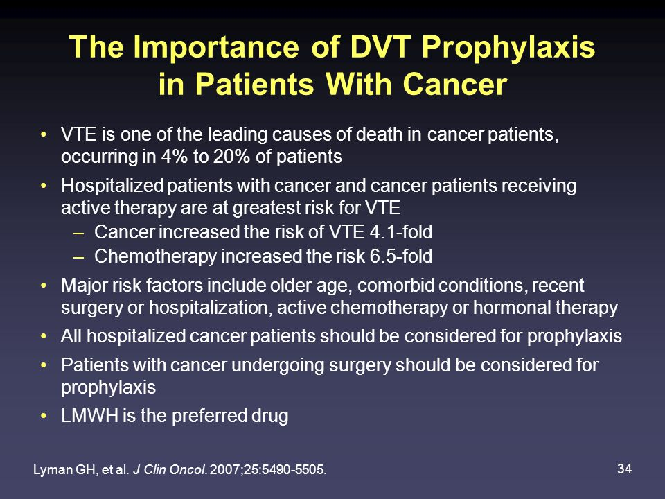 34 The Importance of DVT Prophylaxis in Patients With Cancer VTE is one of the leading causes of death in cancer patients, occurring in 4% to 20% of patients Hospitalized patients with cancer and cancer patients receiving active therapy are at greatest risk for VTE –Cancer increased the risk of VTE 4.1-fold –Chemotherapy increased the risk 6.5-fold Major risk factors include older age, comorbid conditions, recent surgery or hospitalization, active chemotherapy or hormonal therapy All hospitalized cancer patients should be considered for prophylaxis Patients with cancer undergoing surgery should be considered for prophylaxis LMWH is the preferred drug Lyman GH, et al.
