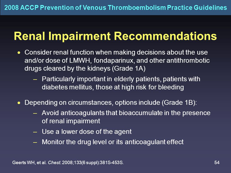 54 Renal Impairment Recommendations  Consider renal function when making decisions about the use and/or dose of LMWH, fondaparinux, and other antithrombotic drugs cleared by the kidneys (Grade 1A) –Particularly important in elderly patients, patients with diabetes mellitus, those at high risk for bleeding  Depending on circumstances, options include (Grade 1B): –Avoid anticoagulants that bioaccumulate in the presence of renal impairment –Use a lower dose of the agent –Monitor the drug level or its anticoagulant effect Geerts WH, et al.