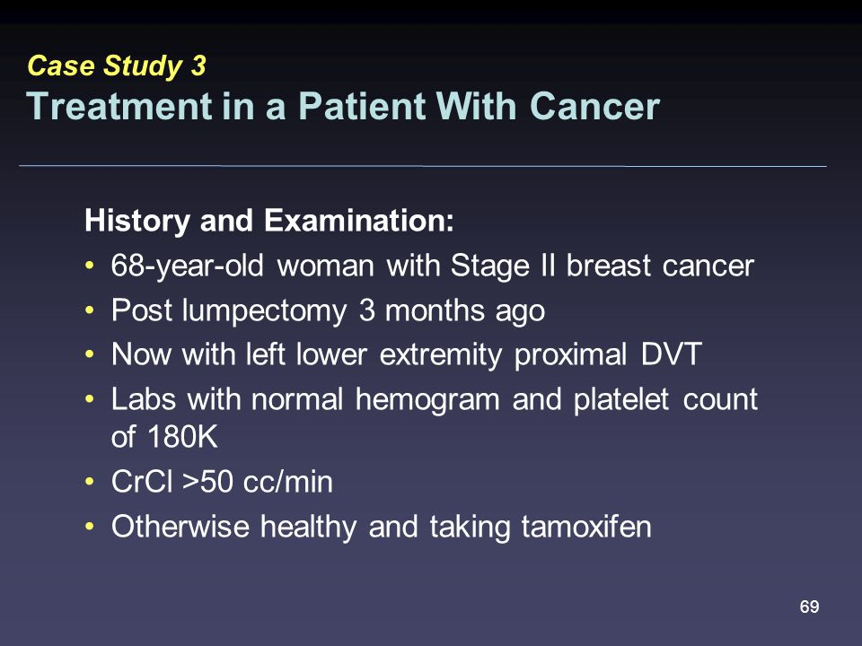 69 History and Examination: 68-year-old woman with Stage II breast cancer Post lumpectomy 3 months ago Now with left lower extremity proximal DVT Labs with normal hemogram and platelet count of 180K CrCl >50 cc/min Otherwise healthy and taking tamoxifen Case Study 3 Treatment in a Patient With Cancer