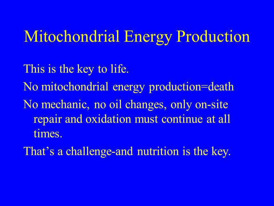 Mitochondrial Energy Production This is the key to life. No mitochondrial energy production=death No mechanic, no oil changes, only on-site repair and