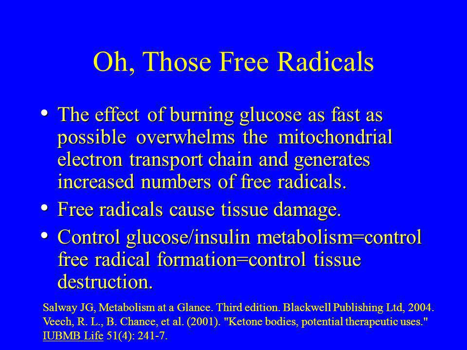 Oh, Those Free Radicals The effect of burning glucose as fast as possible overwhelms the mitochondrial electron transport chain and generates increase