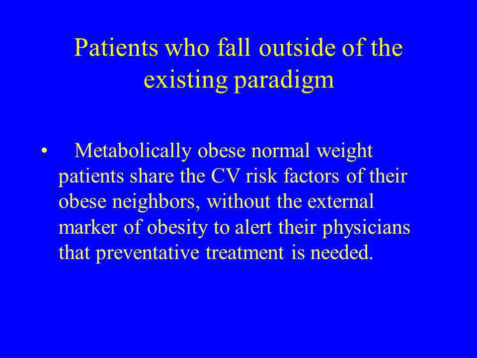 Patients who fall outside of the existing paradigm Metabolically obese normal weight patients share the CV risk factors of their obese neighbors, with