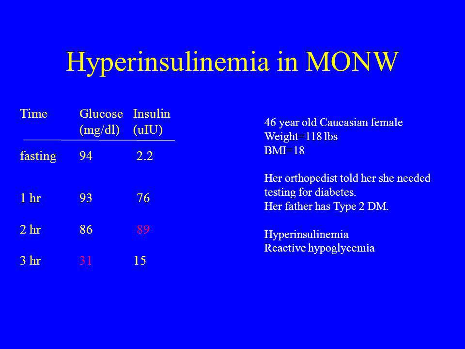 Hyperinsulinemia in MONW TimeGlucose (mg/dl) Insulin (uIU) fasting94 2.2 1 hr 2 hr 3 hr 93 86 31 76 89 15 46 year old Caucasian female Weight=118 lbs