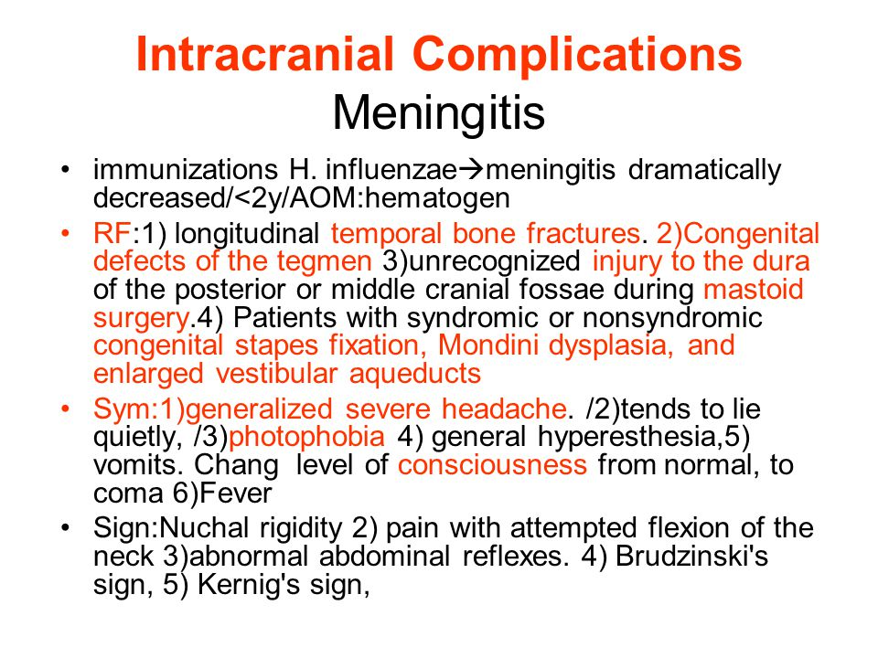 Intracranial Complications Meningitis immunizations H.