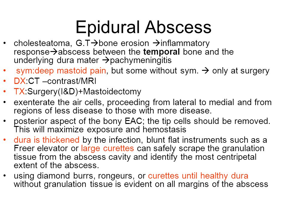 Epidural Abscess cholesteatoma, G.T  bone erosion  inflammatory response  abscess between the temporal bone and the underlying dura mater  pachymeningitis sym:deep mastoid pain, but some without sym.