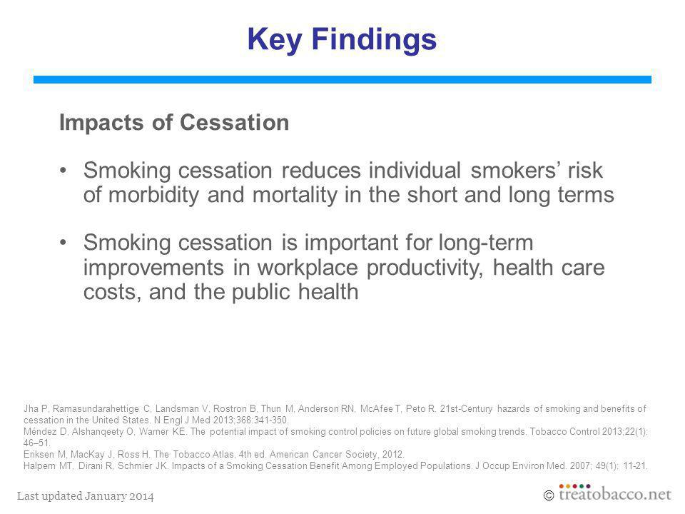 Last updated January 2014  Key Findings Impacts of Cessation Smoking cessation reduces individual smokers' risk of morbidity and mortality in the short and long terms Smoking cessation is important for long-term improvements in workplace productivity, health care costs, and the public health Jha P, Ramasundarahettige C, Landsman V, Rostron B, Thun M, Anderson RN, McAfee T, Peto R.