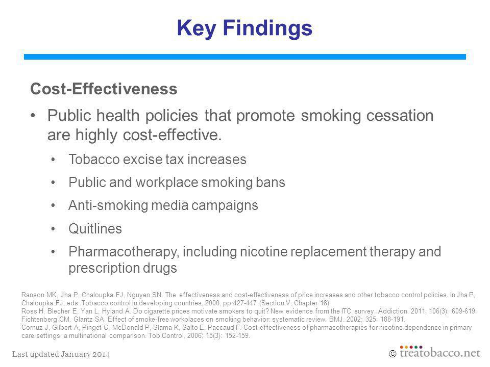 Last updated January 2014  Key Findings Cost-Effectiveness Public health policies that promote smoking cessation are highly cost-effective.