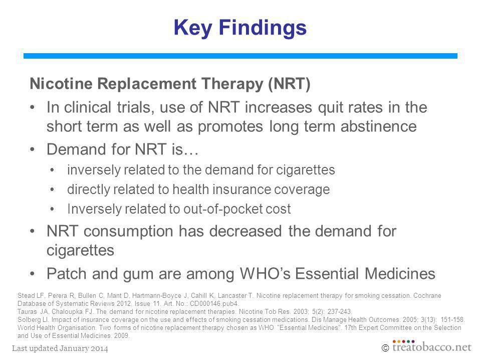 Last updated January 2014  Key Findings Nicotine Replacement Therapy (NRT) In clinical trials, use of NRT increases quit rates in the short term as well as promotes long term abstinence Demand for NRT is… inversely related to the demand for cigarettes directly related to health insurance coverage Inversely related to out-of-pocket cost NRT consumption has decreased the demand for cigarettes Patch and gum are among WHO's Essential Medicines Stead LF, Perera R, Bullen C, Mant D, Hartmann-Boyce J, Cahill K, Lancaster T.