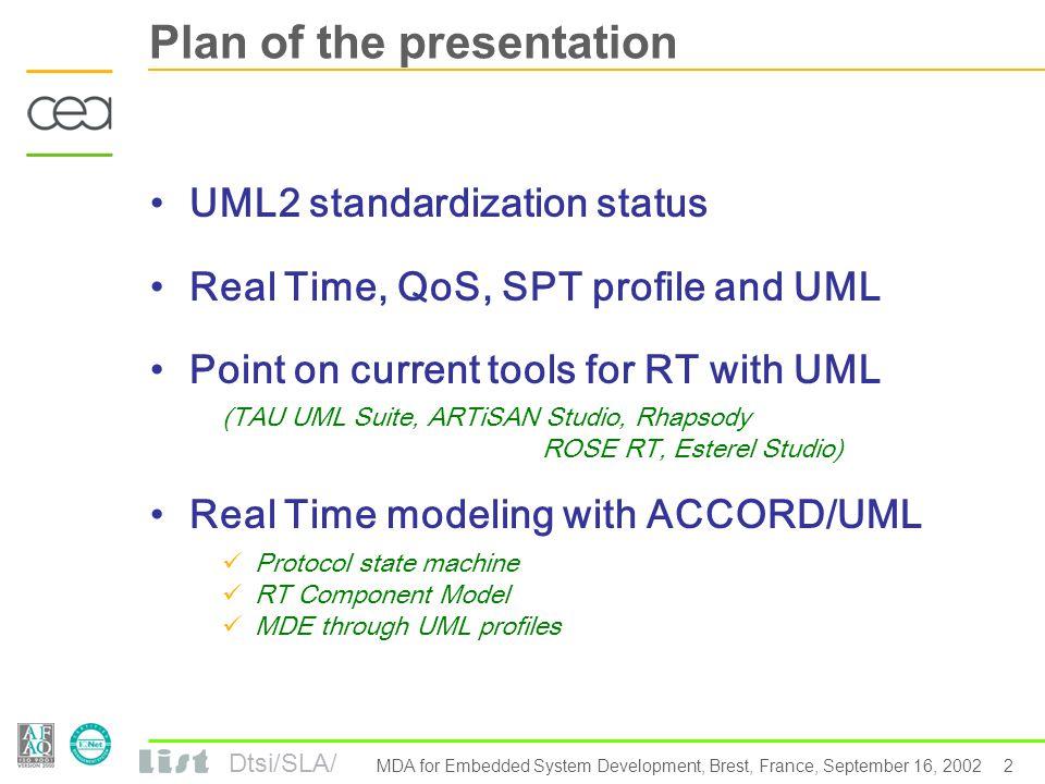 Dtsi/SLA/ 1 MDA for Embedded System Development, Brest, France, September 16, 2002 UML and Real Time Fran ç ois Terrier, S é bastien G é rard DRT-LIST