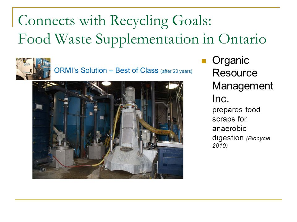 Connects with Recycling Goals: Food Waste Supplementation in Ontario Organic Resource Management Inc.