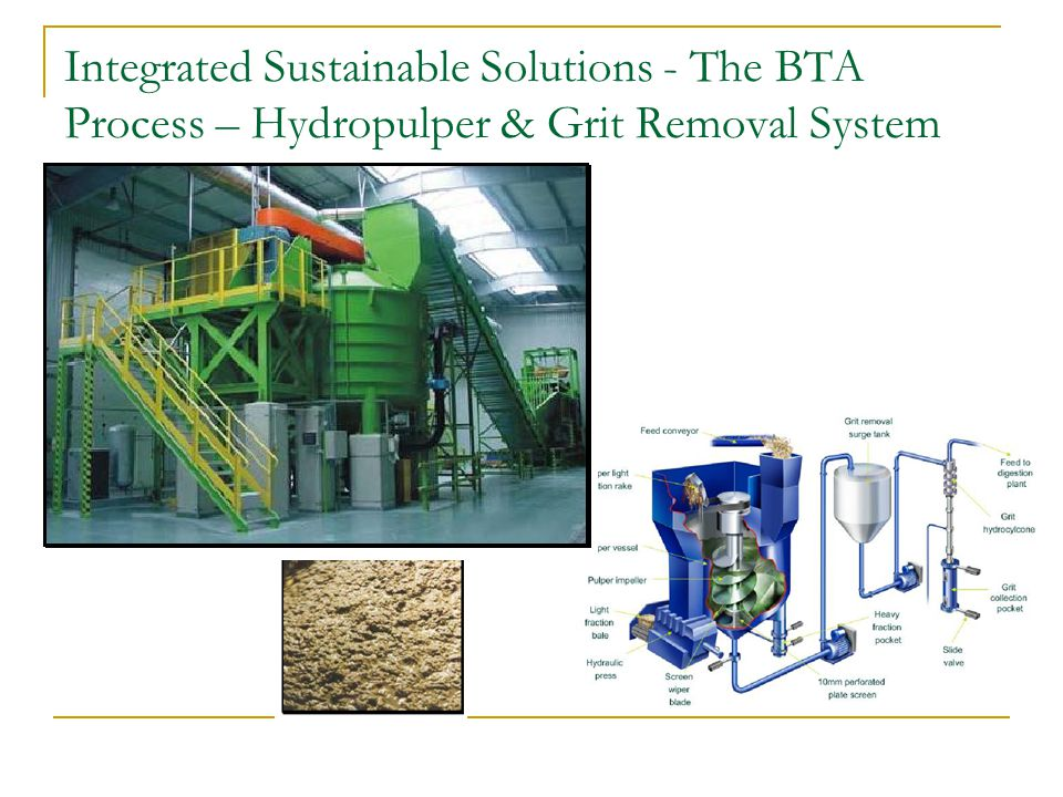 Integrated Sustainable Solutions - The BTA Process – Hydropulper & Grit Removal System
