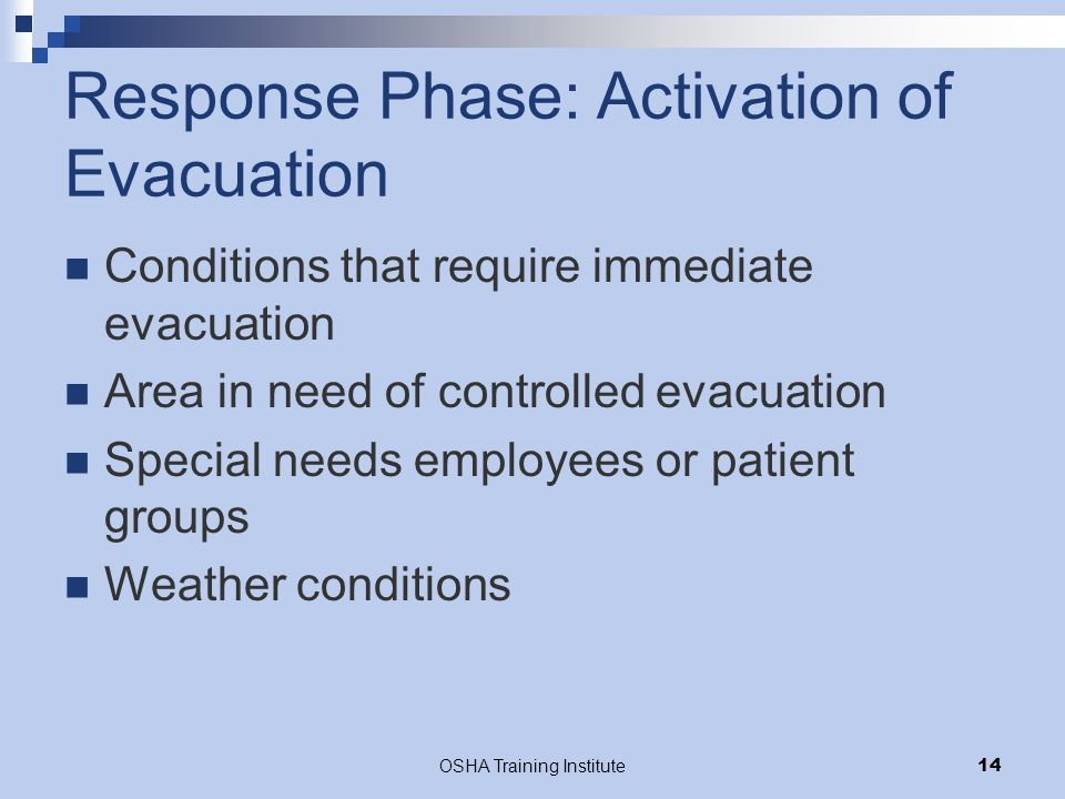 OSHA Training Institute14 Response Phase: Activation of Evacuation Conditions that require immediate evacuation Area in need of controlled evacuation Special needs employees or patient groups Weather conditions