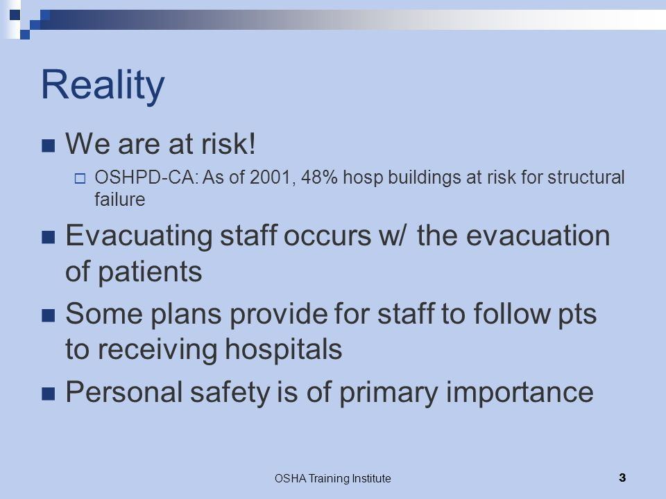 OSHA Training Institute4 Phases of a Disaster Pictorial from disasterhelp.gov Planning (Preparedness) Response Recovery Mitigation