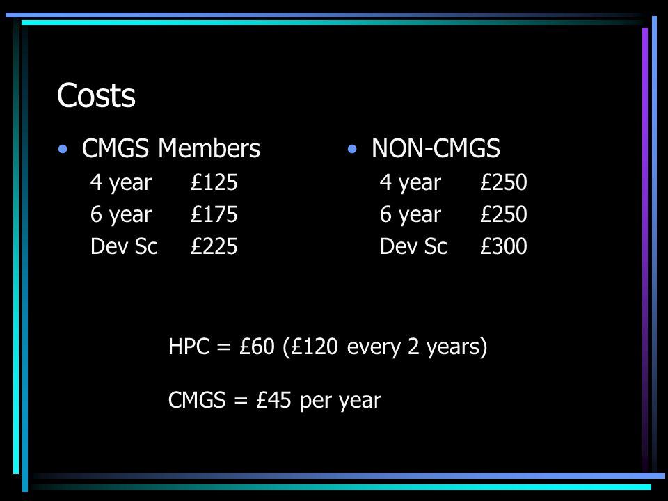 Costs CMGS Members 4 year£125 6 year£175 Dev Sc£225 NON-CMGS 4 year£250 6 year£250 Dev Sc£300 HPC = £60 (£120 every 2 years) CMGS = £45 per year