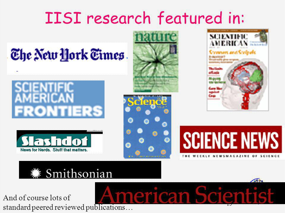 13 IISI research featured in: And of course lots of standard peered reviewed publications…