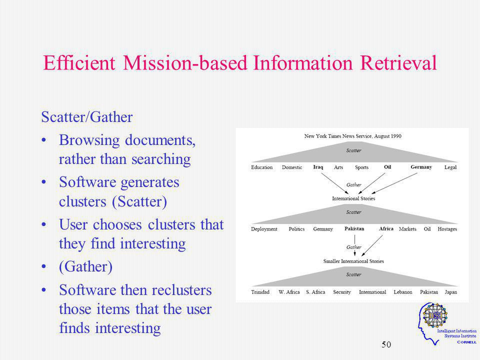 50 Efficient Mission-based Information Retrieval Scatter/Gather Browsing documents, rather than searching Software generates clusters (Scatter) User c