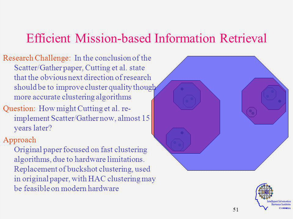 51 Efficient Mission-based Information Retrieval Research Challenge: In the conclusion of the Scatter/Gather paper, Cutting et al.