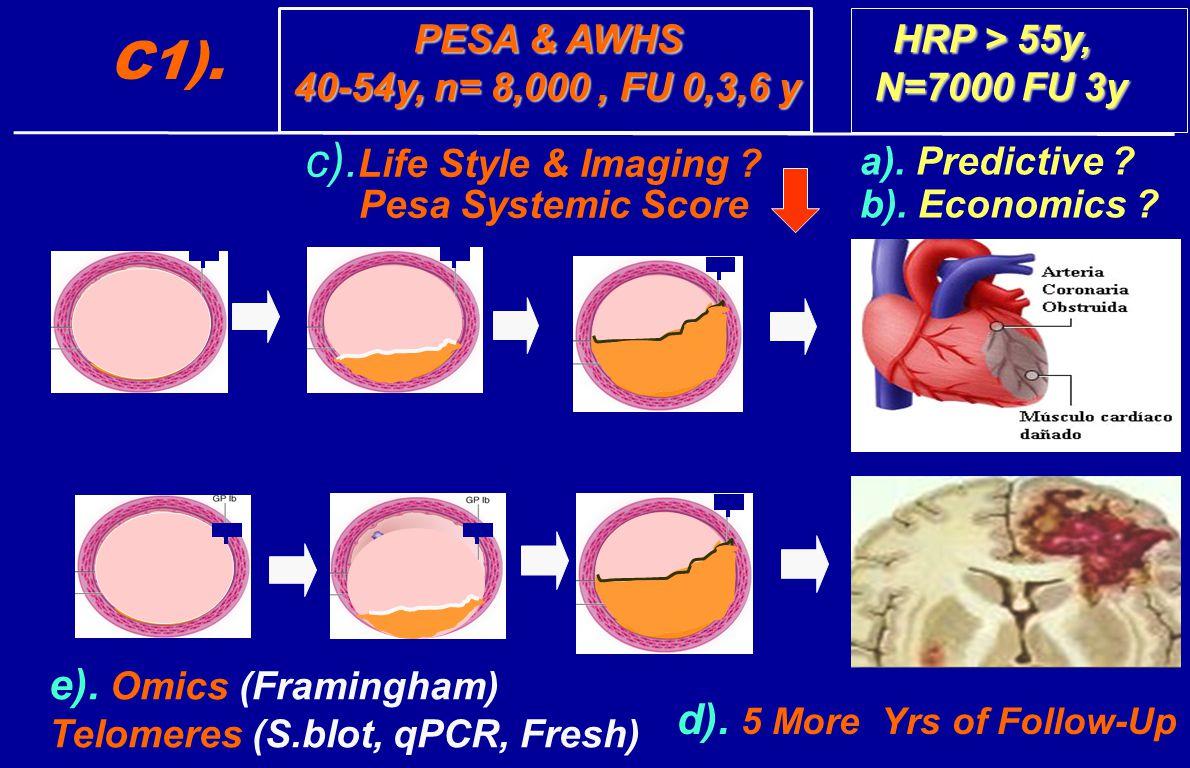PESA & AWHS HRP > 55y, PESA & AWHS HRP > 55y, 40-54y, n= 8,000, FU 0,3,6 y N=7000 FU 3y 40-54y, n= 8,000, FU 0,3,6 y N=7000 FU 3y e).