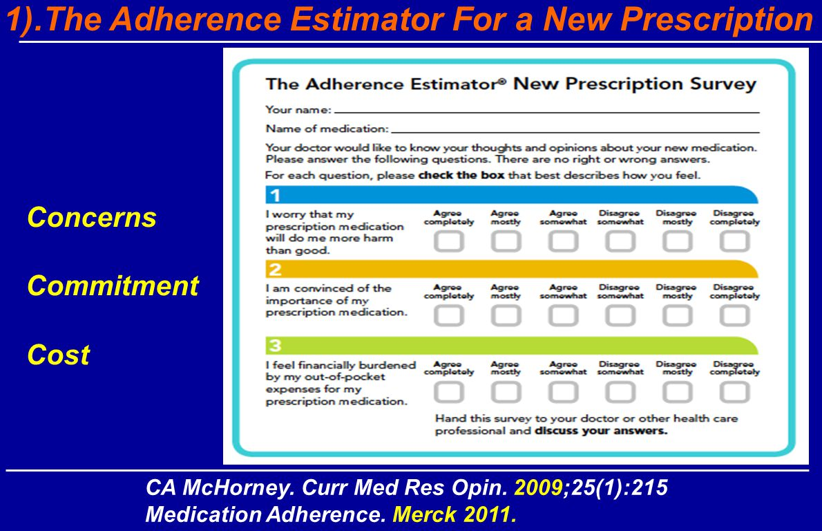CA McHorney. Curr Med Res Opin. 2009;25(1):215 Medication Adherence.