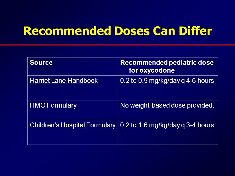 Recommended Doses Can Differ SourceRecommended pediatric dose for oxycodone Harriet Lane Handbook0.2 to 0.9 mg/kg/day q 4-6 hours HMO FormularyNo weight-based dose provided.