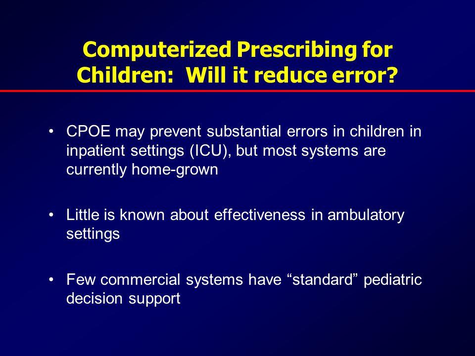 Computerized Prescribing for Children: Will it reduce error.