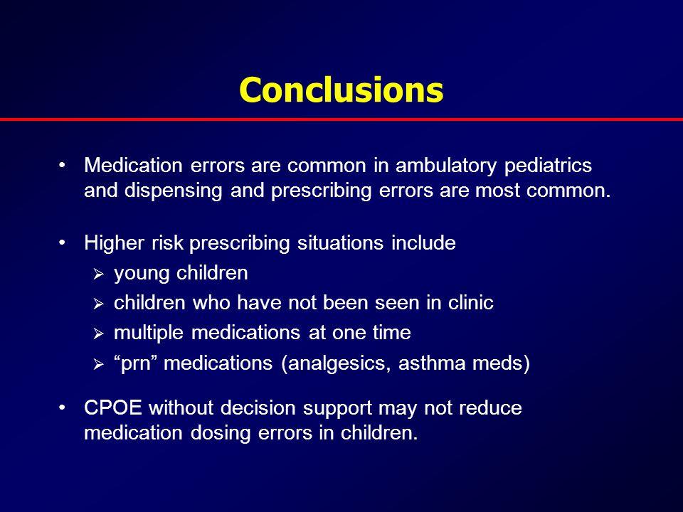 Conclusions Medication errors are common in ambulatory pediatrics and dispensing and prescribing errors are most common.