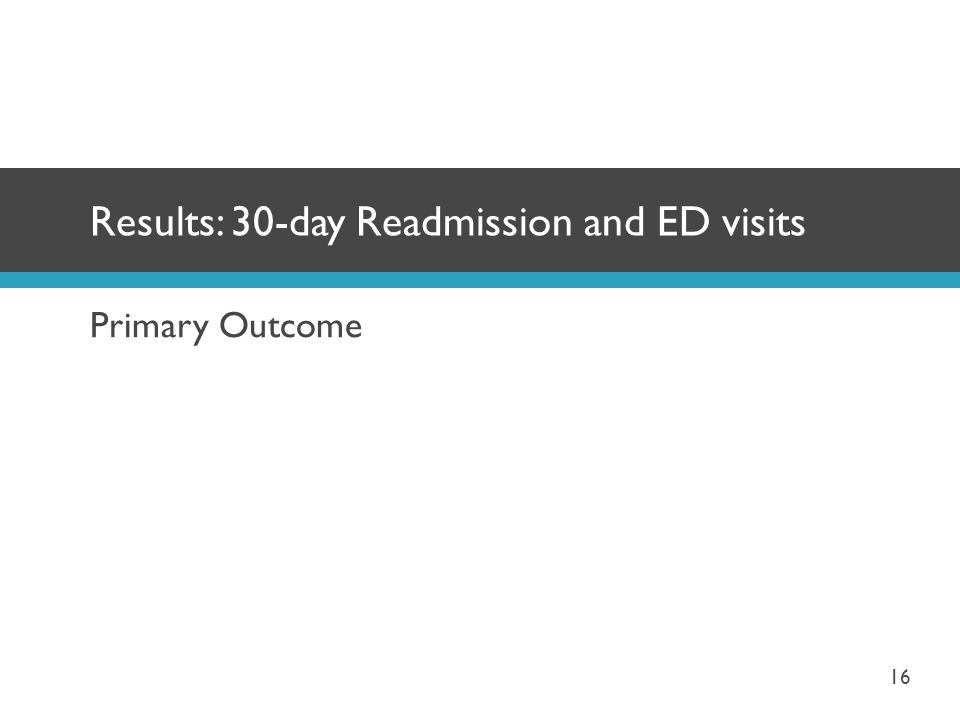 Primary Outcome Results: 30-day Readmission and ED visits 16