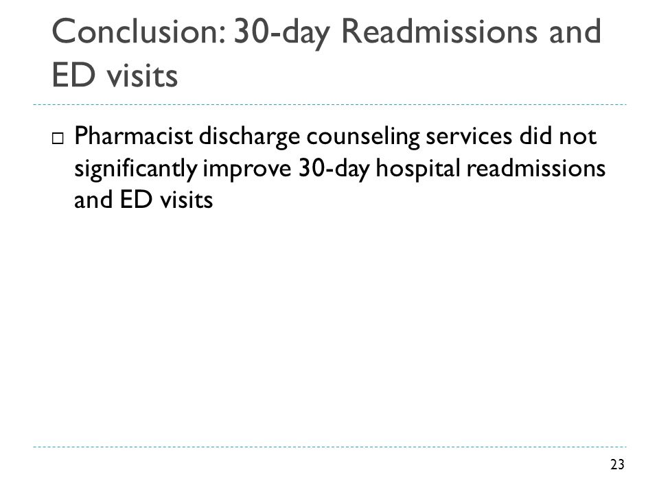 Conclusion: 30-day Readmissions and ED visits  Pharmacist discharge counseling services did not significantly improve 30-day hospital readmissions an