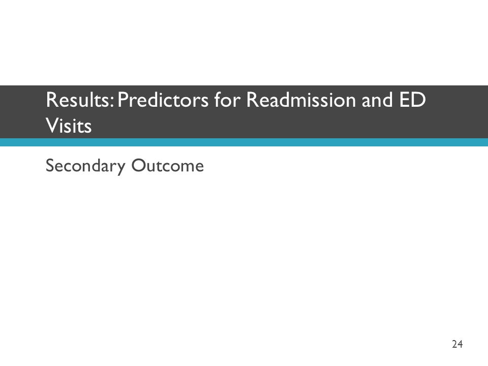 Secondary Outcome Results: Predictors for Readmission and ED Visits 24