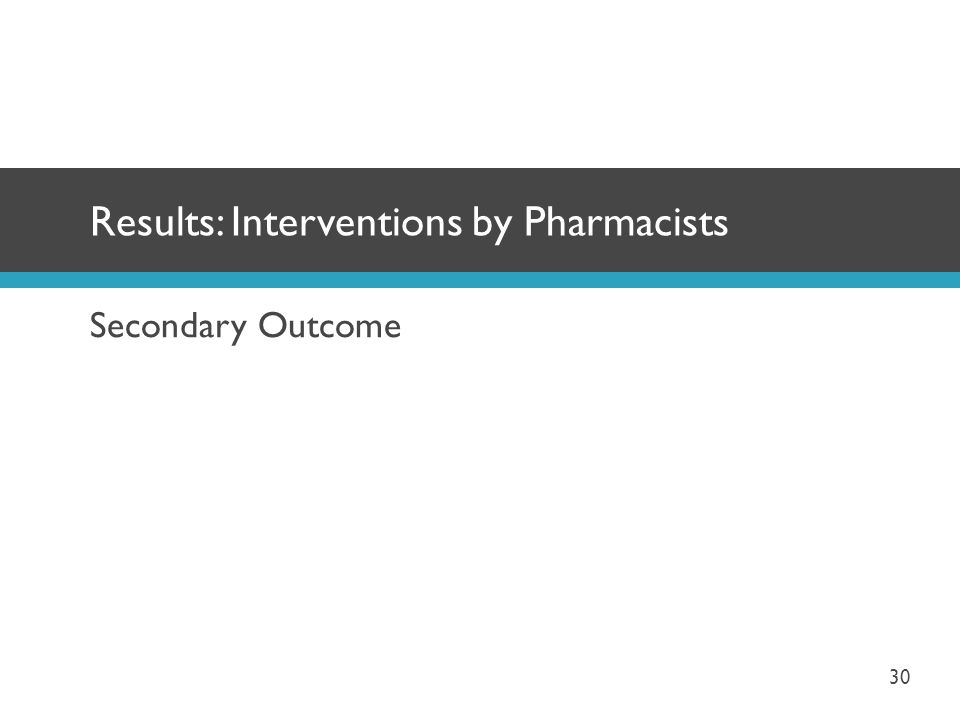 Secondary Outcome Results: Interventions by Pharmacists 30