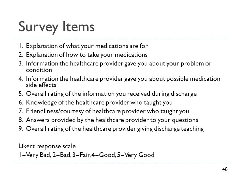 Survey Items 1.Explanation of what your medications are for 2.Explanation of how to take your medications 3.Information the healthcare provider gave y
