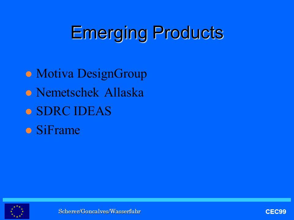 Scherer/Goncalves/Wasserfuhr CEC99 Emerging Products l Motiva DesignGroup l Nemetschek Allaska l SDRC IDEAS l SiFrame