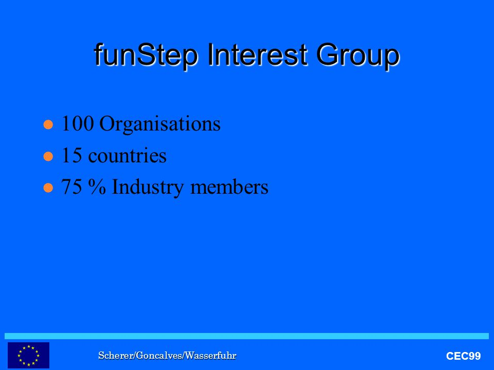 Scherer/Goncalves/Wasserfuhr CEC99 funStep Interest Group l 100 Organisations l 15 countries l 75 % Industry members