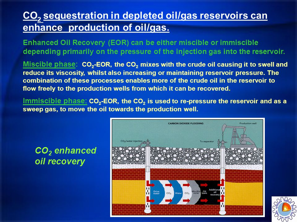 CO 2 sequestration in depleted oil/gas reservoirs can enhance production of oil/gas. Enhanced Oil Recovery (EOR) can be either miscible or immiscible