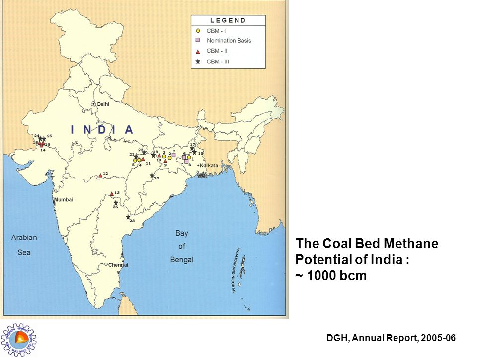 The Coal Bed Methane Potential of India : ~ 1000 bcm DGH, Annual Report, 2005-06
