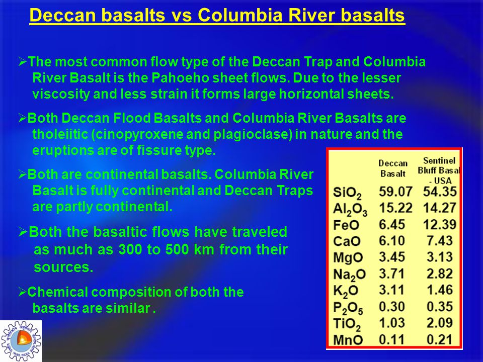  The most common flow type of the Deccan Trap and Columbia River Basalt is the Pahoeho sheet flows. Due to the lesser viscosity and less strain it fo