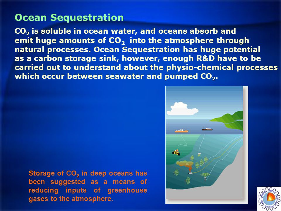 Ocean Sequestration CO 2 is soluble in ocean water, and oceans absorb and emit huge amounts of CO 2 into the atmosphere through natural processes. Oce